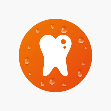 filling: Water drops on button. Caries tooth icon. Tooth filling sign. Dental care symbol. Realistic pure raindrops. Orange circle. Vector