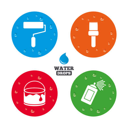roller brush: Water drops on button. Painting roller, brush icons. Spray can and Bucket of paint signs. Wall repair tool and painting symbol. Realistic pure raindrops on circles. Vector