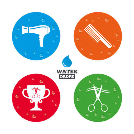 blow drying: Water drops on button. Hairdresser icons. Scissors cut hair symbol. Comb hair with hairdryer symbol. Barbershop winner award cup. Realistic pure raindrops on circles. Vector Illustration