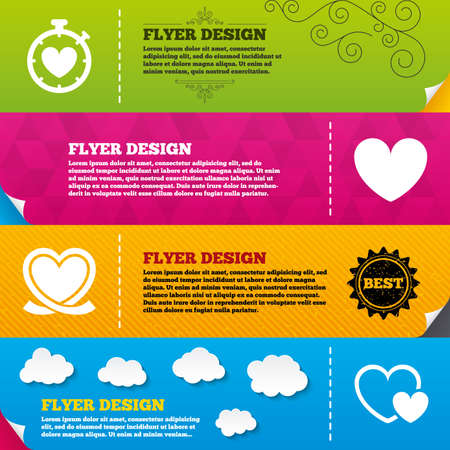 palpitation: Flyer brochure designs. Heart ribbon icon. Timer stopwatch symbol. Love and Heartbeat palpitation signs. Frame design templates. Vector