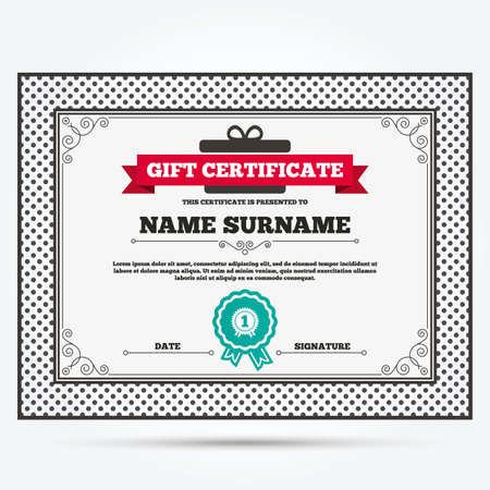 Gift Certificate. First Place Award Sign Icon. Prize For Winner Symbol.  Template With  First Place Certificate