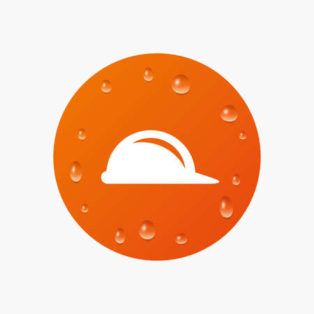 hard rain: Water drops on button. Hard hat sign icon. Construction helmet symbol. Realistic pure raindrops. Orange circle. Vector Illustration