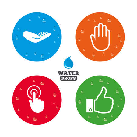 hand press: Water drops on button. Hand icons. Like thumb up symbol. Click here press sign. Helping donation hand. Realistic pure raindrops on circles. Vector Illustration