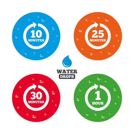 Water drops on button. Every 10, 25, 30 minutes and 1 hour icons. Full rotation arrow symbols. Iterative process signs. Realistic pure raindrops on circles. Vector