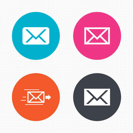 webmail: Circle buttons. Mail envelope icons. Message delivery symbol. Post office letter signs. Seamless squares texture. Vector Illustration