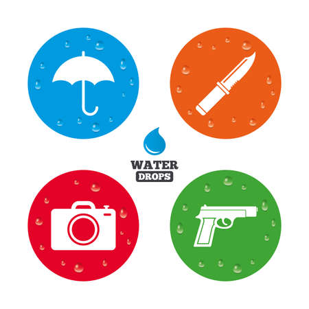 edged: Water drops on button. Gun weapon icon.Knife, umbrella and photo camera signs. Edged hunting equipment. Prohibition objects. Realistic pure raindrops on circles. Vector