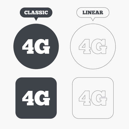 4g: 4G sign icon. Mobile telecommunications technology symbol. Classic and line web buttons. Circles and squares. Vector