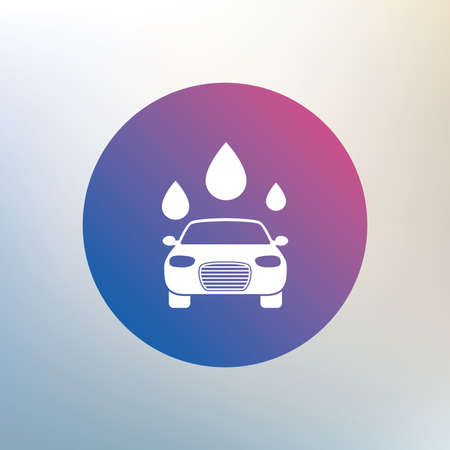automated teller: Car wash icon. Automated teller carwash symbol. Water drops signs. Icon on blurred background. Vector