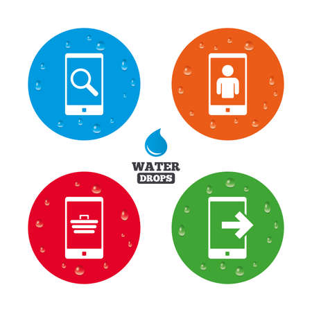 Water drops on button. Phone icons. Smartphone video call sign. Search, online shopping symbols. Outcoming call. Realistic pure raindrops on circles. Vector Illustration