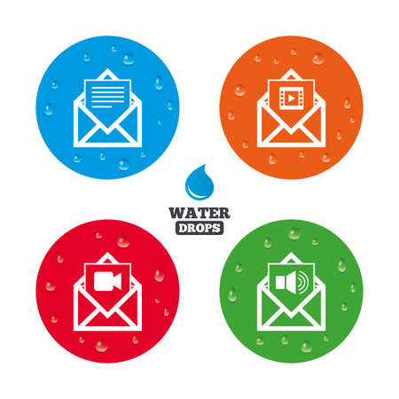 voice mail: Water drops on button. Mail envelope icons. Message document symbols. Video and Audio voice message signs. Realistic pure raindrops on circles. Vector