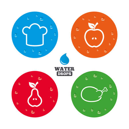 water bird: Water drops on button. Food icons. Apple and Pear fruits with leaf symbol. Chicken hen bird meat sign. Chef hat icons. Realistic pure raindrops on circles. Vector Illustration