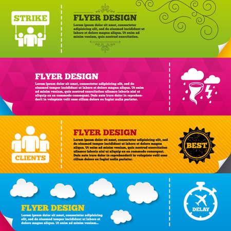 bad weather: Flyer brochure designs. Strike icon. Storm bad weather and group of people signs. Delayed flight symbol. Frame design templates. Vector Illustration