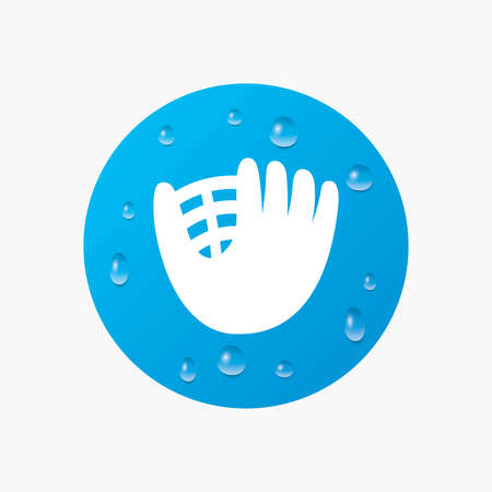 mitt: Water drops on button. Baseball glove or mitt sign icon. Sport symbol. Realistic pure raindrops. Blue circle. Vector