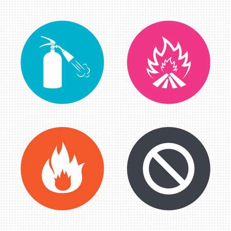 fire extinguisher sign: Botones de c�rculo. Iconos llama Fuego. Muestra del extintor. Prohibici�n s�mbolo de detenci�n. Perfecta textura cuadrados. Vector Vectores