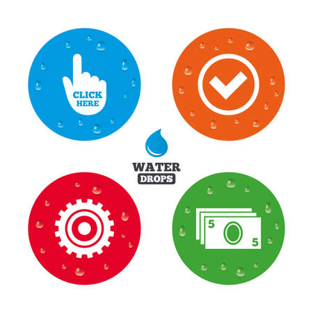 withdrawal: Water drops on button. ATM cash machine withdrawal icons. Click here, check PIN number, processing and cash withdrawal symbols. Realistic pure raindrops on circles. Vector Illustration