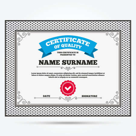 quality check: Certificate of quality. Check sign icon. Yes button. Template with vintage patterns. Vector Illustration