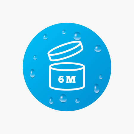 expiration date: Water drops on button. After opening use 6 months sign icon. Expiration date. Realistic pure raindrops. Blue circle. Vector