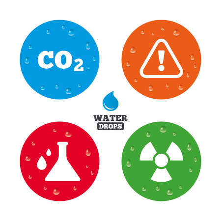 danger carbon dioxide  co2  labels: Water drops on button. Attention and radiation icons. Chemistry flask sign. CO2 carbon dioxide symbol. Realistic pure raindrops on circles. Vector