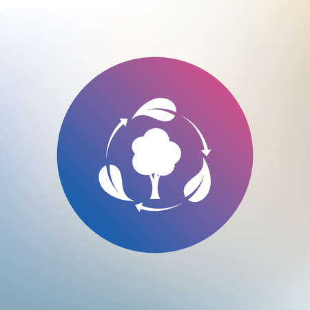 fresh air: Fresh air sign icon. Forest tree with leaves symbol. Icon on blurred background. Vector