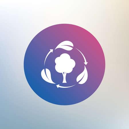 Fresh icono signo de aire. Árbol bosque con hojas símbolo. Icono en el fondo borroso. Vector Foto de archivo - 42333242