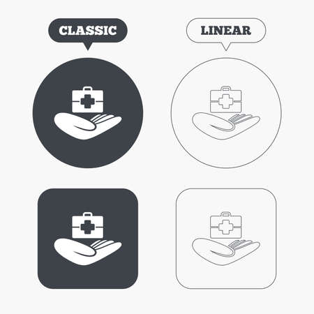 medical case: Medical insurance sign icon. Health insurance. Doctor case. Classic and line web buttons. Circles and squares. Vector