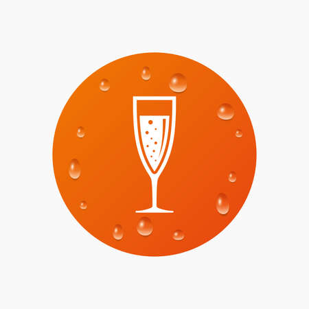 champagne orange: Water drops on button. Glass of champagne sign icon. Sparkling wine with bubbles. Celebration or banquet alcohol drink symbol. Realistic pure raindrops. Orange circle. Vector Illustration