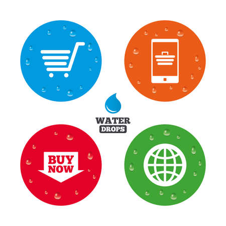 Water drops on button. Online shopping icons. Smartphone, shopping cart, buy now arrow and internet signs. WWW globe symbol. Realistic pure raindrops on circles. Vector Illustration
