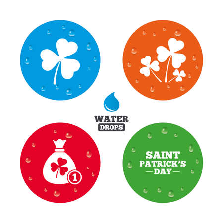 feast of saint patrick: Water drops on button. Saint Patrick day icons. Money bag with clover and coin sign. Trefoil shamrock clover. Symbol of good luck. Realistic pure raindrops on circles. Vector Illustration