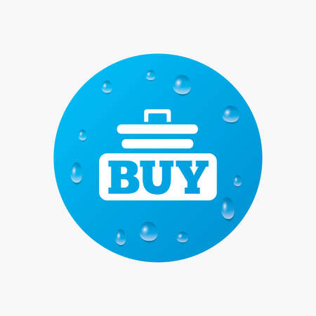 Water drops on button. Buy sign icon. Online buying cart button. Realistic pure raindrops. Blue circle. Vector Illustration