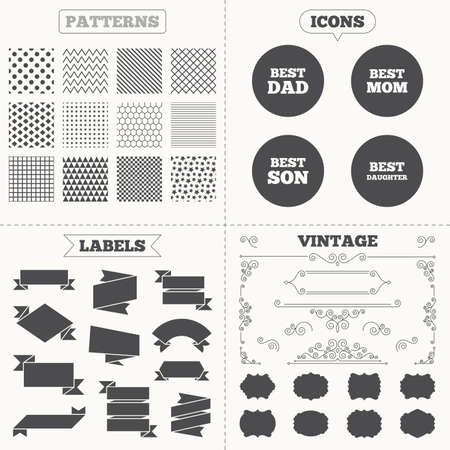 dad and son: Seamless patterns. Sale tags labels. Best mom and dad, son and daughter icons. Award symbols. Vintage decoration. Vector