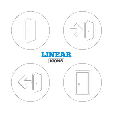 arrow emergency exit: Doors icons. Emergency exit with arrow symbols. Fire exit signs. Linear outline web icons. Vector Illustration