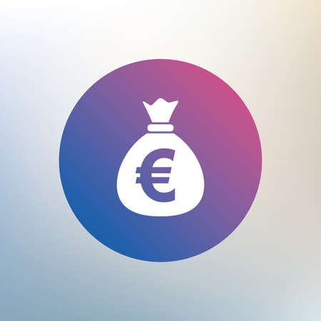 currency symbol: Money bag sign icon. Euro EUR currency symbol. Icon on blurred background. Vector