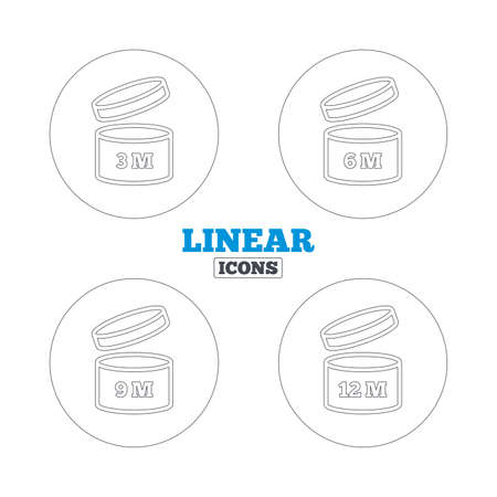 unfit: After opening use icons. Expiration date 6-12 months of product signs symbols. Shelf life of grocery item. Linear outline web icons. Vector Illustration