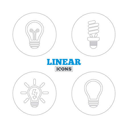 lamp outline: Light lamp icons. Fluorescent lamp bulb symbols. Energy saving. Idea and success sign. Linear outline web icons. Vector