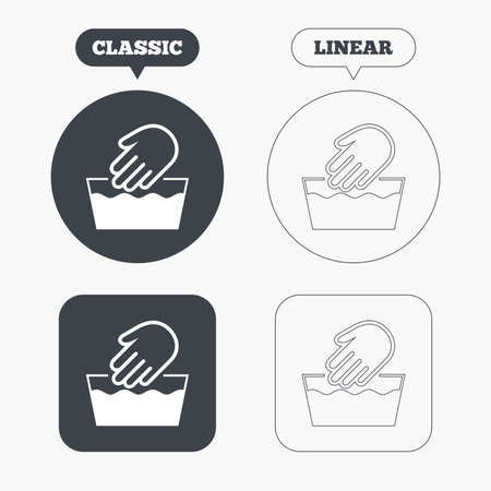 washable: Hand wash sign icon. Not machine washable symbol. Classic and line web buttons. Circles and squares. Vector