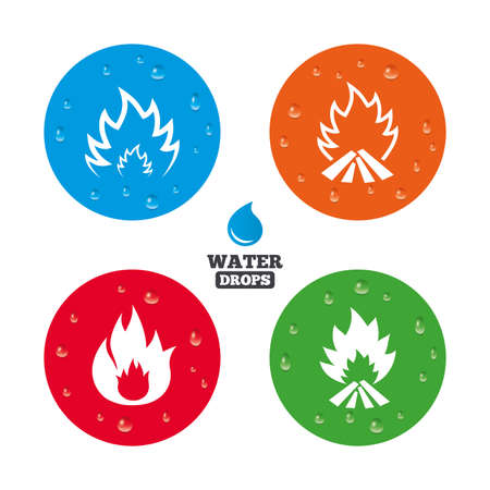 inflammable: Water drops on button. Fire flame icons. Heat symbols. Inflammable signs. Realistic pure raindrops on circles. Vector