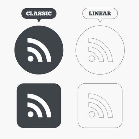 rss feed: RSS sign icon. RSS feed symbol. Classic and line web buttons. Circles and squares. Vector