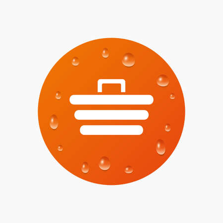 Water drops on button. Shopping Cart sign icon. Online buying button. Realistic pure raindrops. Orange circle. Vector