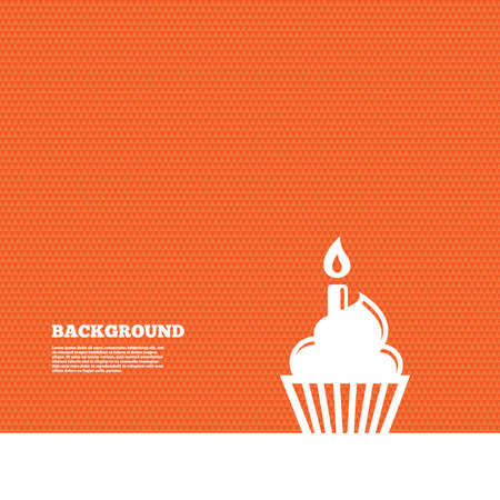 orange cake: Background with seamless pattern. Birthday cake sign icon. Cupcake with burning candle symbol. Triangles orange texture. Vector Illustration