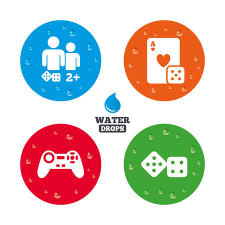 gamer: Water drops on button. Gamer icons. Board games players signs. Video game joystick symbol. Casino playing card. Realistic pure raindrops on circles. Vector