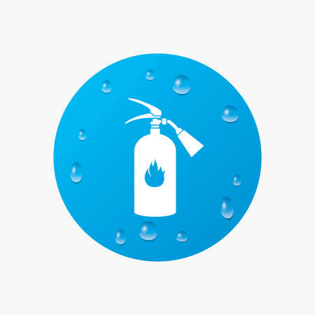 fire extinguisher sign: Water drops on button. Fire extinguisher sign icon. Fire safety symbol. Realistic pure raindrops. Blue circle. Vector Illustration