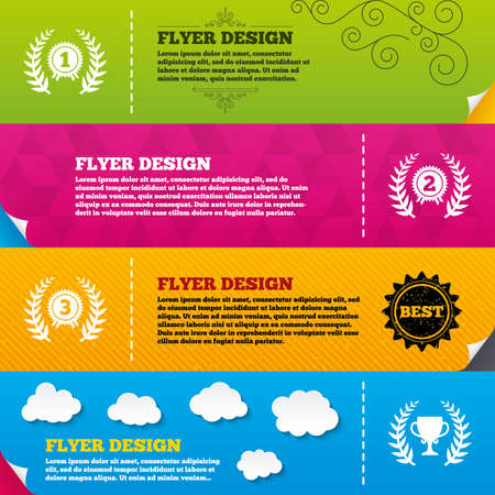 second prize: Flyer brochure designs. Laurel wreath award icons. Prize cup for winner signs. First, second and third place medals symbols. Frame design templates. Vector