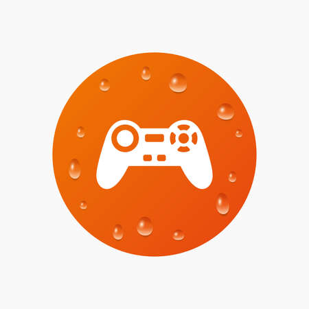 quality controller: Water drops on button. Joystick sign icon. Video game symbol. Realistic pure raindrops. Orange circle. Vector Illustration