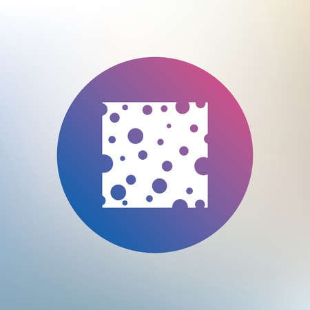holes: Cheese sign icon. Slice of cheese symbol. Square cheese with holes. Icon on blurred background. Vector