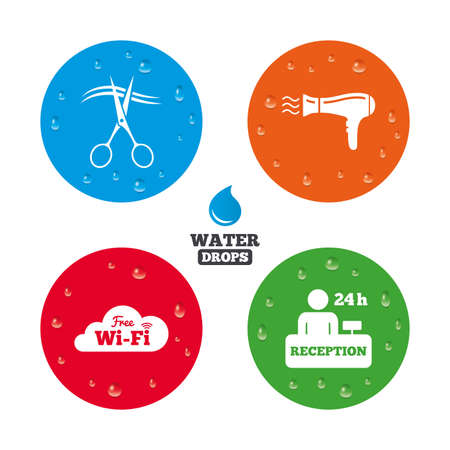 registration mark: Water drops on button. Hotel services icons. wireless connection, Hairdryer in room signs. Wireless Network. Hairdresser or barbershop symbol. Reception registration table. Realistic pure raindrops on circles. Vector