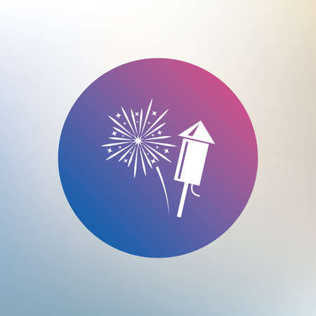 pyrotechnic: Fireworks with rocket sign icon. Explosive pyrotechnic symbol. Icon on blurred background. Vector Illustration