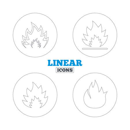 inflammable: Fire flame icons. Heat symbols. Inflammable signs. Linear outline web icons. Vector Illustration