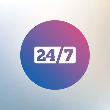 7 days a week: Service and support for customers. 24 hours a day and 7 days a week icon. Icon on blurred background. Vector