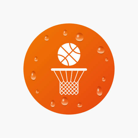 Water drops on button. Basketball basket and ball sign icon. Sport symbol. Realistic pure raindrops. Orange circle. Vector Illustration