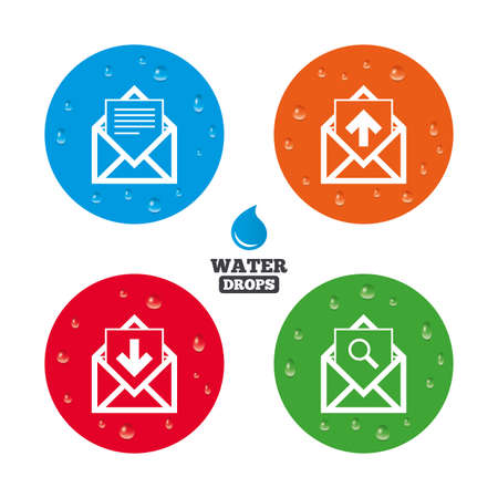 outbox: Water drops on button. Mail envelope icons. Find message document symbol. Post office letter signs. Inbox and outbox message icons. Realistic pure raindrops on circles. Vector